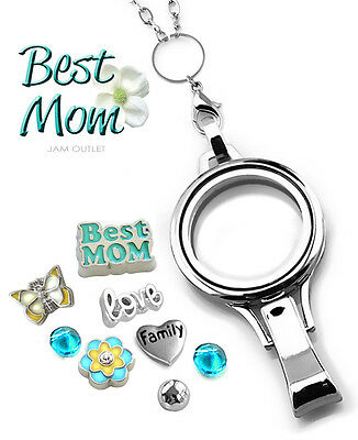 BEST MOM Floating Lanyard Glass Locket Set ID Badge Holder, Charms & Rolo Chain