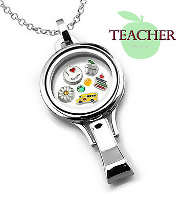 TEACHER Floating Glass Locket Lanyard ID Set w/ SCHOOLBUS Charms & Rolo Chain