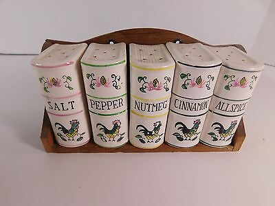 Small 5 Piece Ceramic Canister Set with Rack - Roosters Pattern - 3 Inches Tall