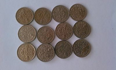 Lot of 12 UK Great Britain Sixpence coins