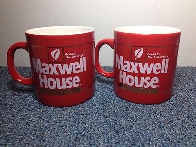 Maxwell House 2 Instant Coffee mugs Vintage Set 2 red ceramic cups England