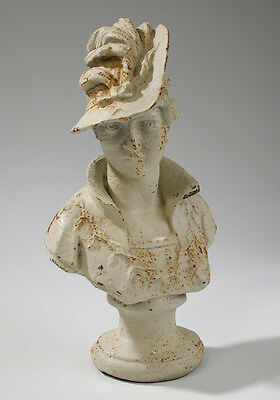 Vintage Cast Iron Victorian Bust of Woman Sculpture