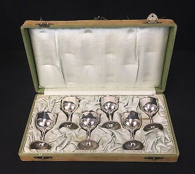 Genuine Set of 6 Antique 19th Century Chinese Export Sterling Silver Goblet Cups