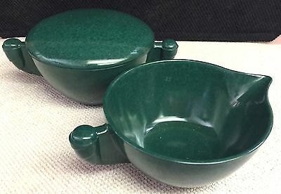 Vintage Retro Melmac Creamer And Sugar Color-Flyte By Branchell Green
