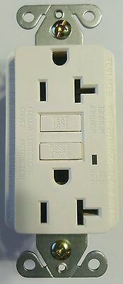 12 IN EACH BOX- NEW 20amp GFCI Outlet Receptacles  White w/ LED Light Wall plate