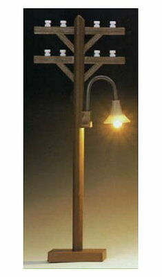Telephone pole with gooseneck- Lamp Light Lamp post G Scale Model power 986