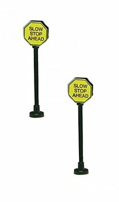 2 yellow Stop signs Lamp Light (SLOW Stop AHEAD) G Scale Model power 978