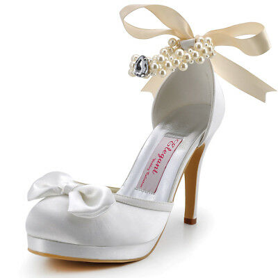 EP11074-PF White Closed Toe Pumps High Heel Bow Pearls Satin Party Bridal Shoes