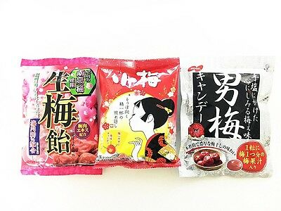 Japanese Popular Ume Flavor Candy Assortment 3 Bags Set from Japan
