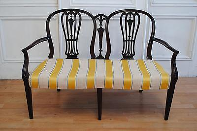 REDUCED Antique Hepplewhite Mahogany Settee / Loveseat - Prince of Wales Carving