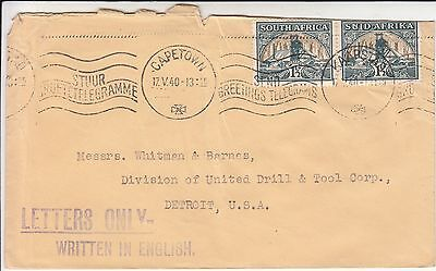 South Africa 1940 Letters only - written in English pm on cover