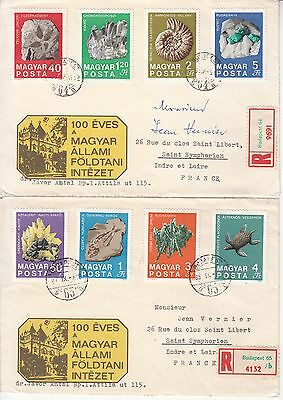 Minerals Hungary 2 registered FDCs to France 1969