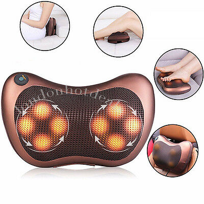 Electric Heat Massage Pillow Lumbar Neck Back Shiatsu  Cushion Kneading Home Car