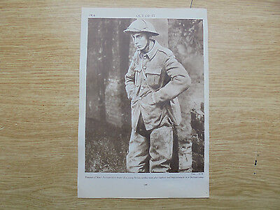 1916 print/picture, `out of it`,prisoner of 1st world war, 9.5x6.5 inches