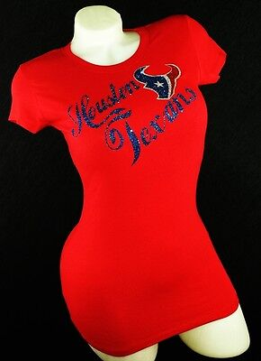 Houston Texans Red Fitted Spandex Tee with Shiny Lettering.Football Spirit!!