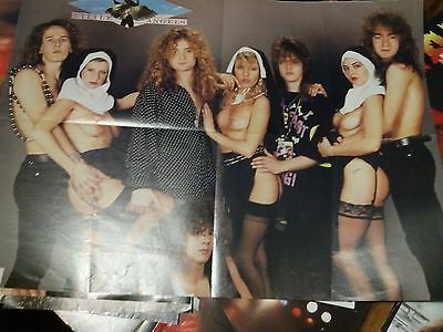 Early Little Angels 1980's Foldout Poster Metal Hammer Mag Marillion on Back