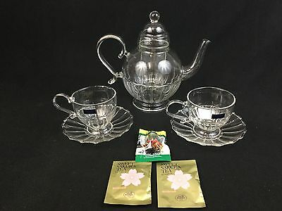 Waterford Vintage Garden Ava Teapot Infuser Two Cups and Saucers Flowering Tea