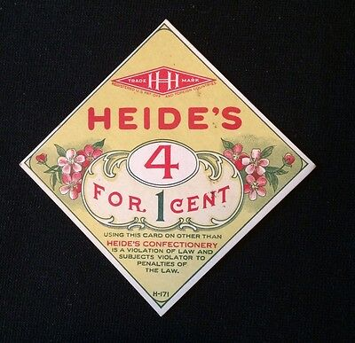 Vintage Original HEIDE'S Color Litho Candy Jar Sign. Heavy Stock. Early 1900s.
