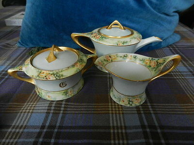 Antique Hutschenreuther Selb Sugar Bowl,Creamer & tea pot.Bavaria,Cacilie.