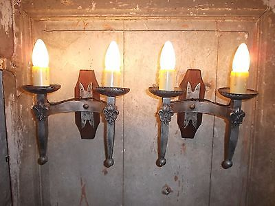 French a pair of vintage iron solid  wall light sconces rustic  detailed
