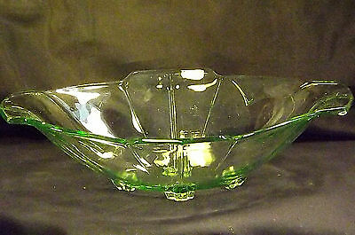 Vintage Footed Green Glass Oval Fruit / Sweets / BonBon Bowl / Dish