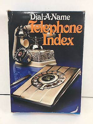 Dial-A-Name Telephone Index Gold Toned Rotary Phone Book Vintage w/Box