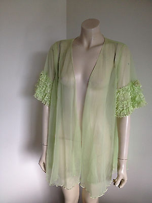 Vintage Peppermint Green Sheer Netting & Lace Italian Robe Gown Negligee Size M