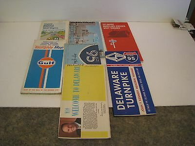 Lot of  7  Vintage Road Maps    MARYLAND DELAWARE WASH  DC