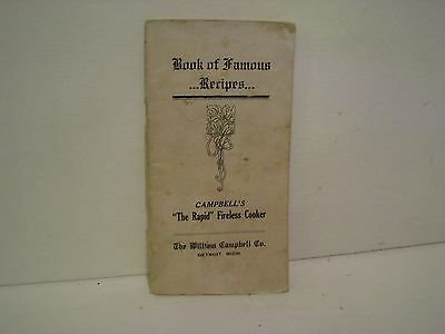 Campbell Rapid Fireless Cooker   Book OF FAMOUS RECIPES  Vintage Booklet