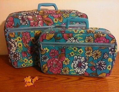 2 Piece Vtg Bantam Blue Floral Travelware Suitcase Hippie Overnight Bag With Key