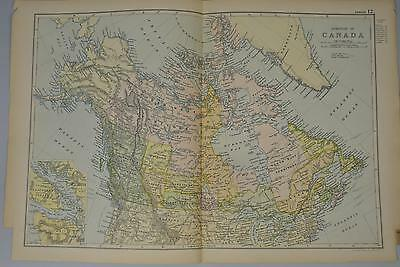 Canada North America Antique Map 1891
