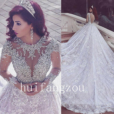 Wedding Dresses Bridal Gowns Beading Crystals Luxury Shiny Formal Appliques Lace