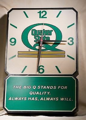 Vintage Quaker State Clock / Light  Garage Auto Large