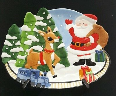 Lenox Rudolph Decorative Holiday Christmas Canape Plate Platter Cookies Santa