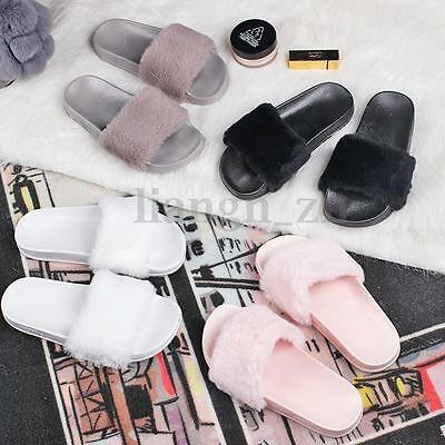 Ladies Womens Slip On Flat Farrah Rubber Slider Mules Fur Slipper Sandals Shoes