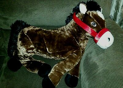 """NEW Soft Plush HORSE or PONY Huge 22"""" x 23"""" NWT Gift Present Rider"""