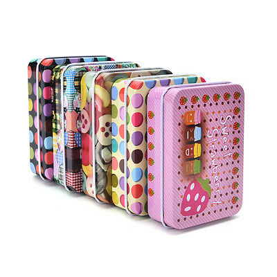 Top  Mini Tin Metal Container Small Rectangle Lovely Storage Box Case Pattern SS