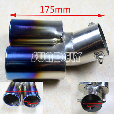 Curve Twin Dual Exhaust Trim Double Tips Muffler Pipe Chrome Tail 63Mm Rainbow