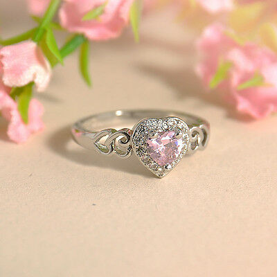 Women Fashion Heart Pink White Topaz Gemstone Silver Plated Ring Size 6 7 8 9