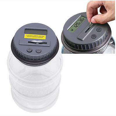 Digital Saving Money Coin Box Jar Automatic Clear Electronic Counting Piggy Bank