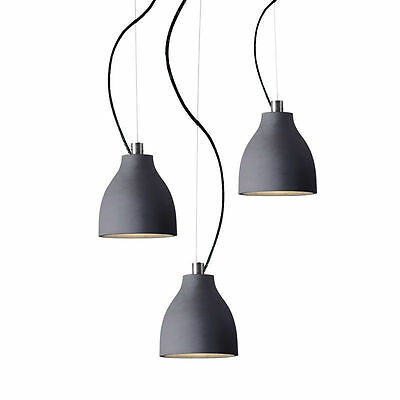 3 Lights Pendant Concrete Ceiling Lamp Adjustable Fixtures Dining Lighting