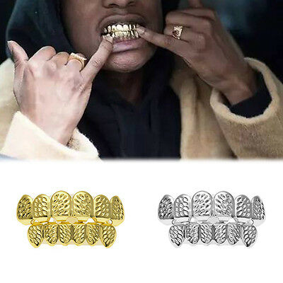 Fashion Custom Fit Carving Pattern Hip Hop Teeth Grillz Caps Top & Bottom Grills