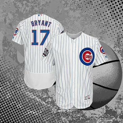 #17 Chicago Cubs Kris Bryant 2016 World Series Baseball Jersey White Men