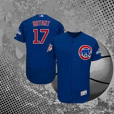 Chicago Cubs Kris Bryant #17 2016 World Series Baseball Jersey Men's Blue