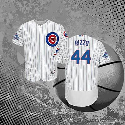Chicago Cubs #44 Anthony Rizzo White Stipes Men Baseball Jerseys