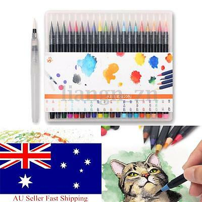 20 Colors Art Oil Watercolor Drawing Painting Brush Sketch Manga Pen Set New AU