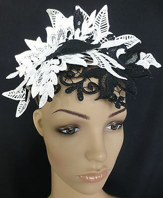 White Black Lace Crown Fascinator Hat Races Wedding Melbourne Cup Derby Day