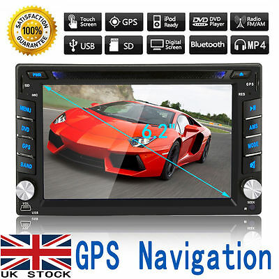 "6.2"" HD Double 2 Din In Dash Touch Car Stereo DVD Player Radio FM GPS SAT NAV 3D"