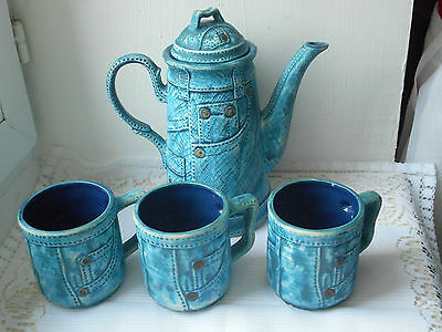 stunning vintage French porcelain hand painted 4 piece coffee pot set