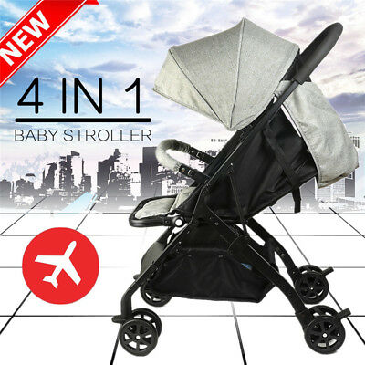 Newborn Carriage Infant Travel Foldable Pram Baby Stroller Pushchair Black White